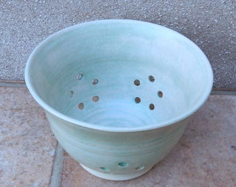 Berry bowl or colander wheel thrown stoneware pottery ceramic handmade drainer
