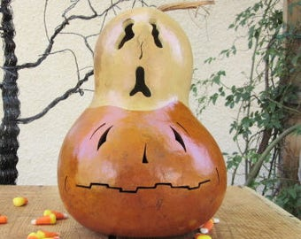 Halloween Gourd Ghost Top Jack O Lantern Primitive Pumpkin Decoration