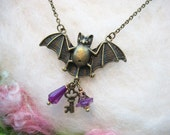 Bat Necklace Bat Jewelry Spirit Animal Purple Beads Bat Talisman Good Fortune Halloween Bronze Bat Charm Large Bat Charm
