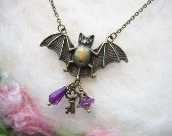 Bat Necklace Bat Jewelry Spirit Animal Purple Beads Bat Talisman Good Fortune Halloween Bronze Bat Charm Large Bat Charm