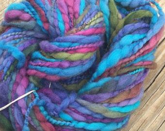 Handspun yarn Thick and Thin Art Yarn thread plied 59 yards teal turquoise purple hot pink green 2ply 2 ply treasure goddess