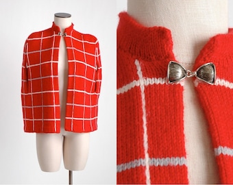1970s vintage red knit cape * white + blue stripe * 1960s cape TP068