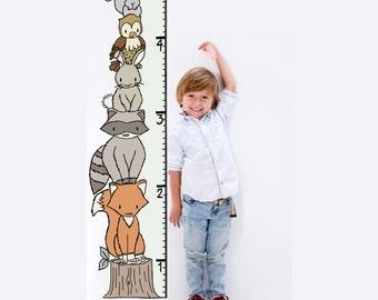 WALL DECAL -- Woodland Growth Chart -- Nursery Art