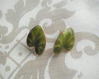 Vintage Finn Jensen Sterling Silver Green Enamel Lily Pad Earrings