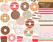 Buy 2, Get 1 FREE - Donut Fun Clipart - Digital Donut Clipart - Instant Download