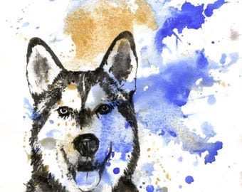 Custom Pet Portrait Painting Custom Dog Portrait Your Favorite Anything in a Splash of Color Dog Husky Painting Print