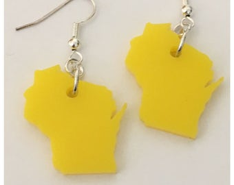 Wisconsin Earrings, Acrylic Jewelry in the Shape of Wisconsin, Earrings in Yellow, State Jewelry