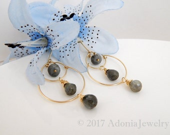 Double Hoop Earrings ~ Labradorite Hoop Earrings ~ Gold Hoop Earrings ~ AdoniaJewelry