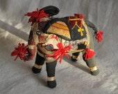 india elephant toy figurine, fabric, mirror, sequins, tassels, neutrals