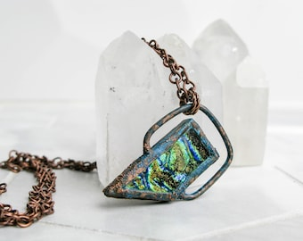 Electroformed Copper Necklace Bright Green Fused Glass Pendant Copper jewelry Modern Glass Pendant Statement necklace bohemian jewelry