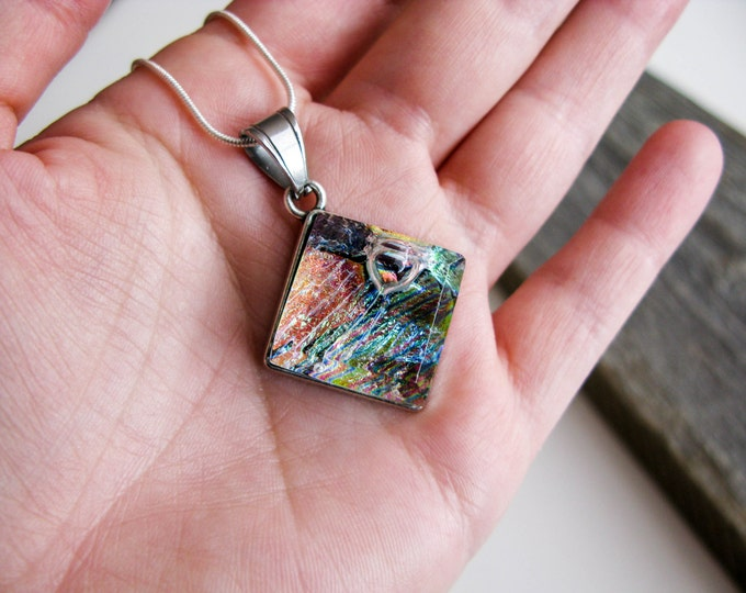 Diamond Glass Pendant (chain included) –  funky stripes
