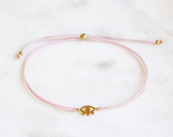 Evil Eye Bracelet | Pink and Gold | Evil Eye Jewelry | String Bracelet