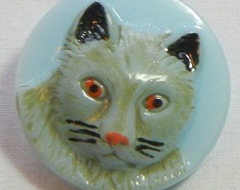 Medium Cat Face Czech Glass Button