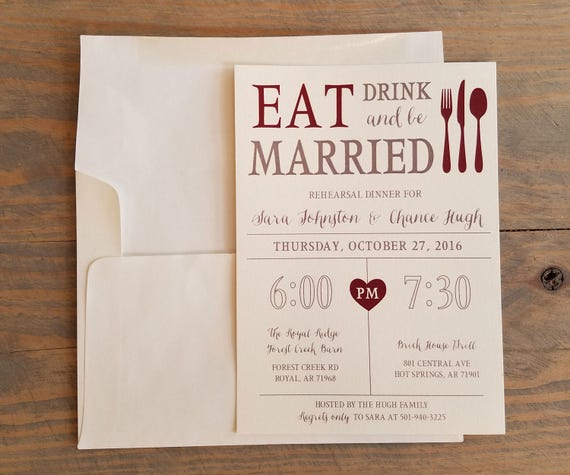 Rehearsal Dinner Invitation, Eat, Drink & Be Married, Rustic Dinner Invitation, Rehearsal Invitation, Rehearsal Dinner Invitations