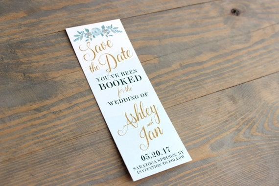 mint bookmark save the date, save the date bookmark, mint and gold, mint and gold save the date, wedding save the date