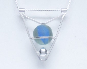 Sea Glass Jewelry - Sterling Caged Blue Sea Glass Marble Necklace