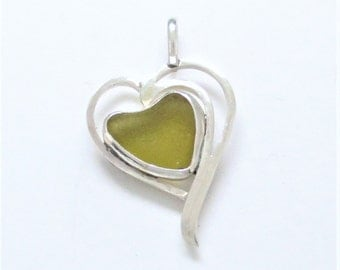 Sea Glass Jewelry - Sterling Golden Amber Sea Glass Heart Pendant