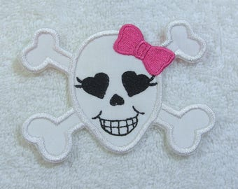 Girlie Skull and Crossbones Patch  Iron On Applique Patch Ready to Ship