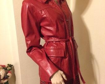 SALE Vintage 80s Lipstick Red soft and supple Leather ladies jacket Size Medium