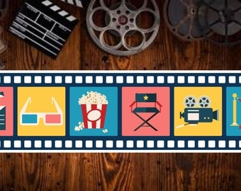 Film Cell Strip Home Movie Theater Sign with Colorful Cinema Icons - Choose Your Design SS1012