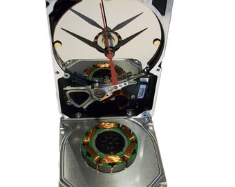 Hard Drive Clock Accented with Large, Copper Motor Winding from 1980s Hard Drive.  Got Conversation Piece?