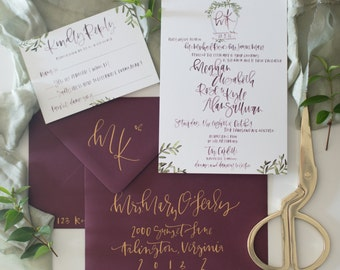 Wine Watercolor Calligraphy Wedding Invitation Suite with Custom Crest