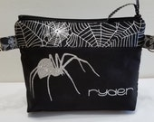 Can-Am Spyder zipper pouch in metalic black and silver fabric and silver glitter spider ryder