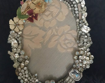 Vintage Jewelry Picture Frame, Vintage Flowers