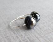 Raven Black Hoops, Small Hoop Earrings, Lampwork Earring, Silver Wire Hoops, Black Glass Drop Hoops, Wire Earrings, Sterling Silver Earrings