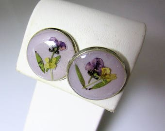 Purple Alyssum on Lavendar, Post Earrings,  Real Flowers, Resin (2024)