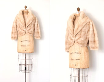 vintage 1950s mink cropped jacket / 50s blonde mink capelet / Blonde Ambition