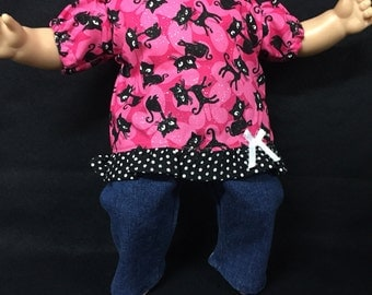 15 Inch Doll Clothes, Handmade to Fit Like American girl bitty baby dolls, My Pretty Kitty Sparkle Outfit