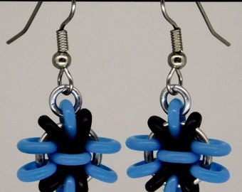 Black and blue Anemone Earring, fun and funky drop earring, chainmaille earring, black and blue earring