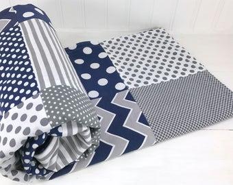 Boy Blanket, Baby Blanket, Nursery Decor, Crib Bedding, Minky Blanket, Crib Blanket, Chevron Nursery, Navy Blue, Steel Gray, Grey, Chevron