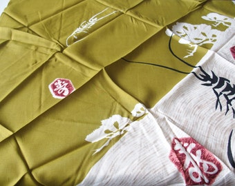 Furoshiki Wrapping Cloth From Japan Mustard Green Plus Cream With Kanji Design