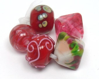 Lampwork beads  -  Eclectics in Red and Pink  -  cherry, ruby red beads, padparadscha, frit glass beads, raku frit, loose glass beads