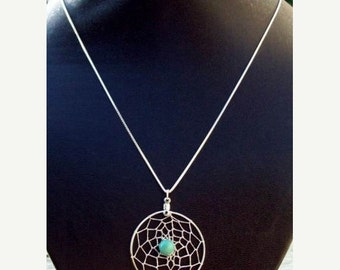 ON SALE TURQUOISE Dream  Large pendant dream catcher necklace in sterling silver with turquoise & 18, 20 or 24 inch chain