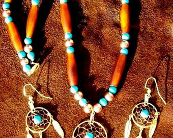 SALE DREAMY DREAMCATCHER Necklace, earring set, Turquoise, copper, Ram horn dream catcher jewelry set, Native American made, beaded, boho, t
