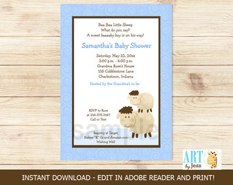 Blue Baa Baa Sheep Farm Boy Baby Shower or Birthday Invitations PDF File Editable Text INSTANT DOWNLOAD
