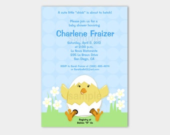 Spring Chick Baby Shower Invitaton Easter | April | Springtime Choose Blue, Yellow, or Pink! Printable Invites