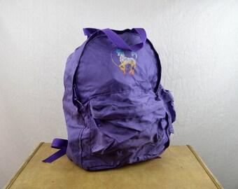 Vintage 80s Purple Unicorn Backpack
