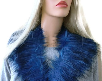 Fur collar cobalt blue with charcoal-animal lover's fur-faux fur collar