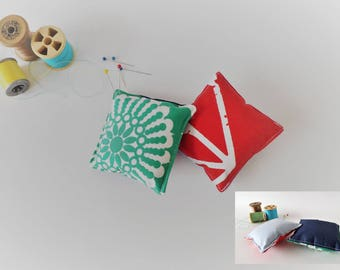 Recycled Fabric Swatch, Scrap and Offcut Pin Cushion with Eco Friendly Wadding, Brights and Stripes Prints