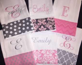 Personalized Monogrammed Baby Burp Cloth Set of 6 Cloths Newborn gift