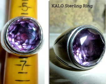 KALO Ring. Sterling Silver Faceted Amethyst Size 6 Vintage Signed Ring. From the Chicago Kalo Shops. Circa 1940s or Older.Arts & Crafts.