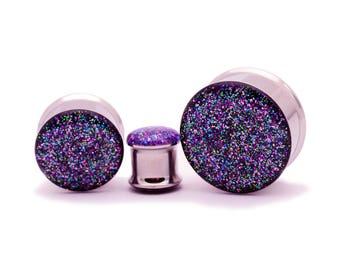 """Embedded Galaxy Glitter Plugs gauges - 00g, 7/16"""", 1/2, 9/16, 5/8, 3/4, 7/8, 1 inch"""