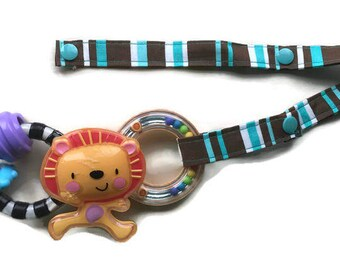 Toy Leash, Sippy Cup Strap, Pacifier Saver -- Brown, Turquoise, and White Stripes