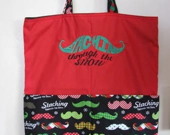 Staching Through the Snow Mustache Eco Friendly Tote - Shopping Bag