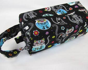 Dia de Los Muertos Colorful Skeleton Cats Halloween Cosmetic Bag Makeup Bag LARGE