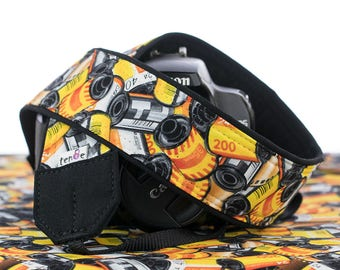 dSLR Camera Strap, 35mm Film, Yellow, Orange, Red, Black, SLR, 006